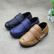 2016 Fashion Autumn Children boys genuine leather shoes Soft Sole Boy Shoes Flats Black Blue Brown Kids Casual Loafers For Boys