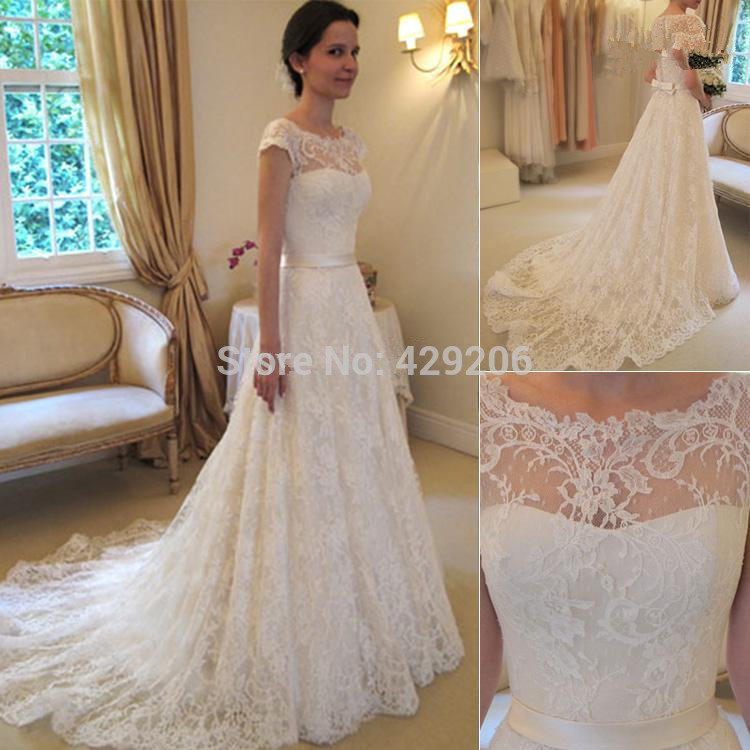 lace a line wedding dresses bateau sleeveless bridal dresses court