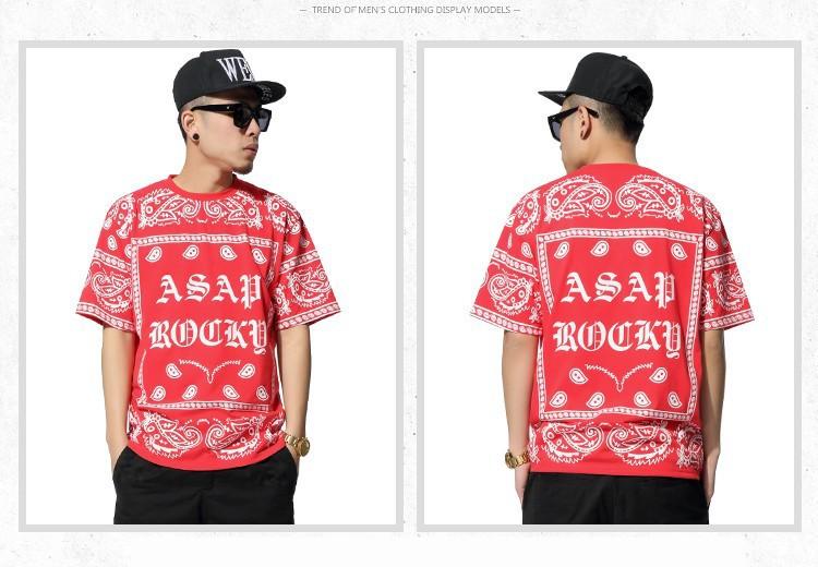 Мужская t рубашка моды 2015 Летняя Мужская короткий рукав кешью цветы печати хип-хоп причинной t рубашки мужские бренда плюс размер xxxl