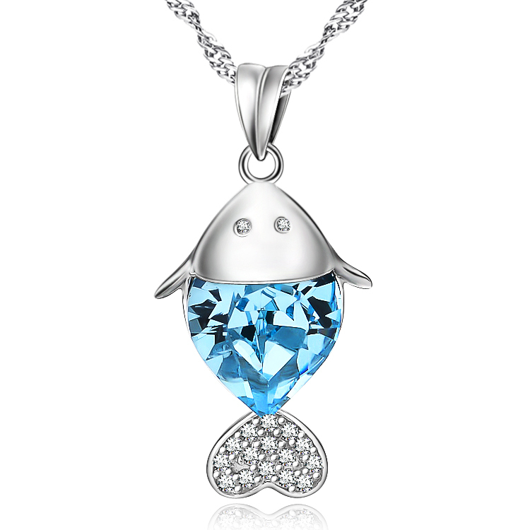 Wholesale 925 Sterling Silver Jewelry Shiny Blue Austrian Crystal Fish Pendant Necklace Chirstmas Gift For Women(China (Mainland))