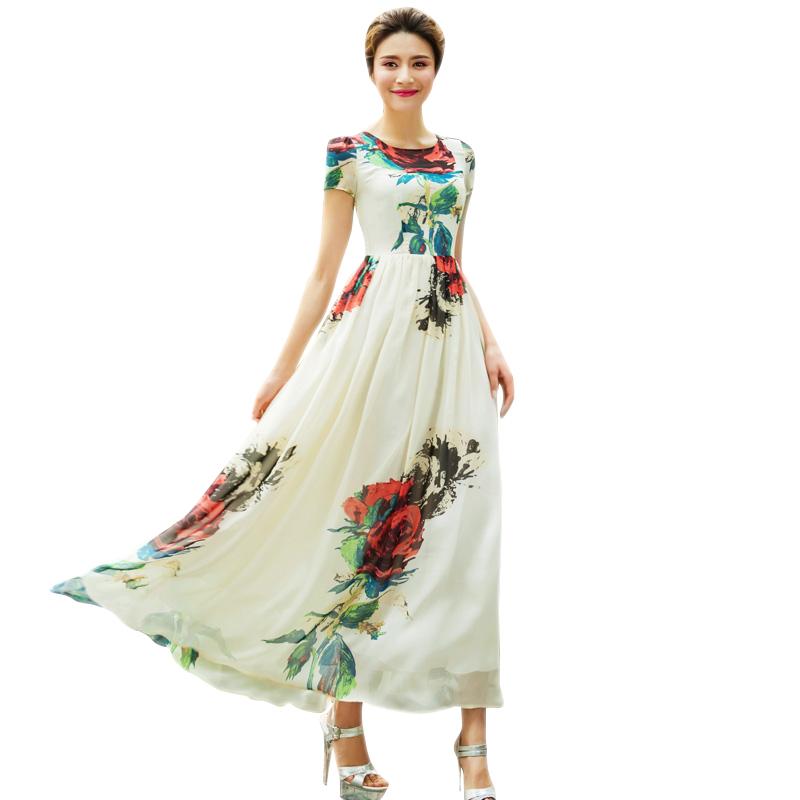2016 Summer Tropical Print Dresses Women Plus Size Floral Print Beige Chiffon Maxi Long Dress Short Sleeve Vestidos 2093
