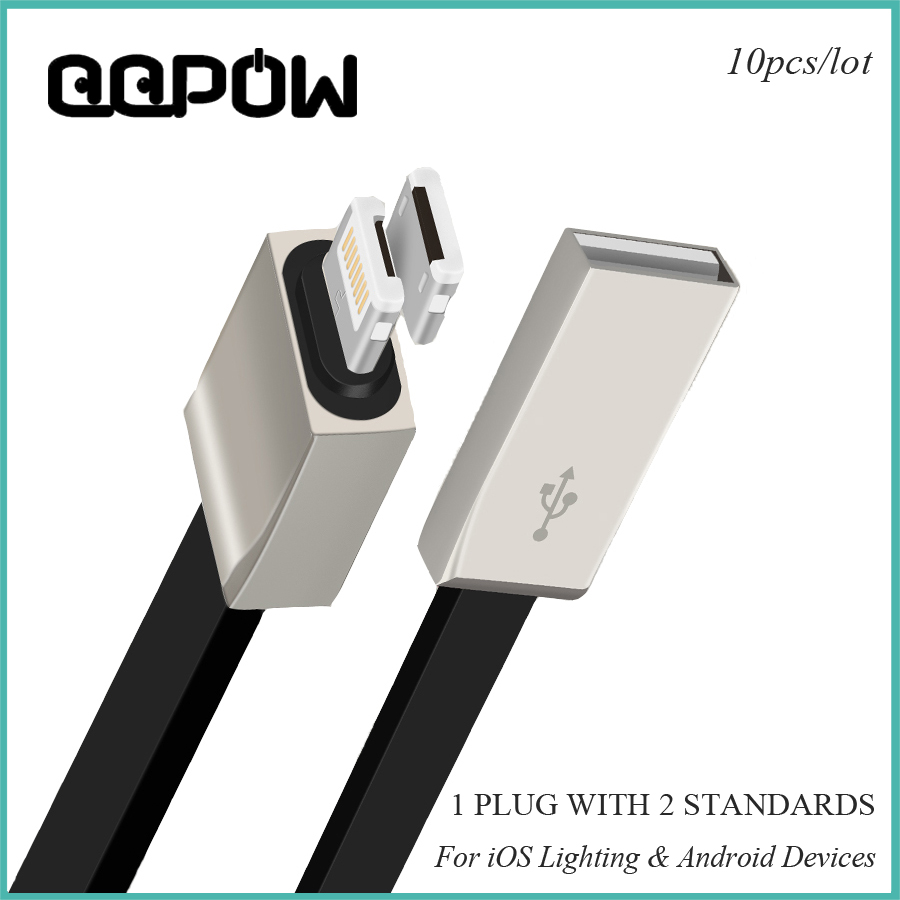 10pcs/lot 2016 New Data Sync Charger charging 2 in 1 Micro USB Cable For Lightning iphone 5 5s 6 6s plus xiaomi Samsung s7(China (Mainland))