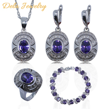 Purple Amethyst White Topaz 925 Sterling Silver Women Jewelry Set Bracelet/Earrings/Pendant/Necklace/Ring Free Gift A16(China (Mainland))