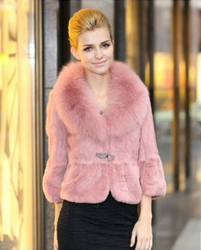 Fashion Womens Solid Rabbit Fur Coat with Fox Collar Real Rabbit Fur Slim Jacket Three Quarter Sleeve 5 colors Available LX00038Одежда и ак�е��уары<br><br><br>Aliexpress