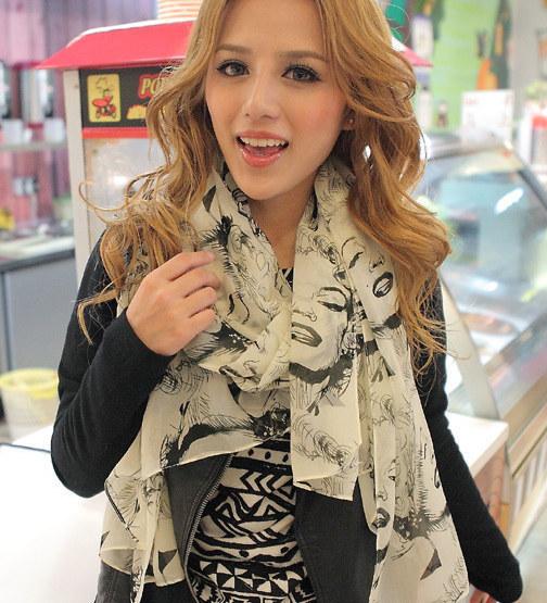 (Минимальный заказ составляет $10) 2016 Весной и Летом новый Корейский шифон шарфы оптовая США звезда Мэрилин Монро Печатных женщин шарф шали