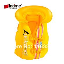 50 pieces / lot wholesale! Pool life vest Intime children lifejackets pvc Baby 's inflatable cartoon vest swim ring Lifebuoy(China (Mainland))