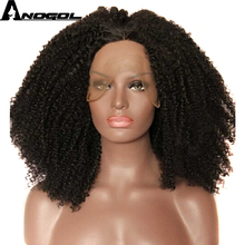 Buy Anogol Kinky Curly Synthetic Lace Front Wig High Temperature Heat Resistant Hair Natural Wigs Black Women African American for $42.31 in AliExpress store