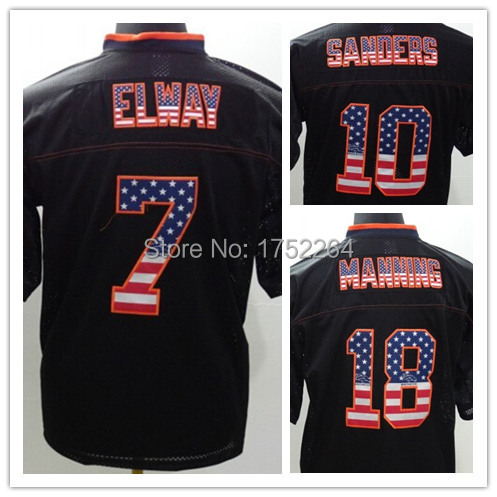 Free Shipping Men's Usa Flag Fashion American Football Jerseys Rugby 7 John Elway 10 Emmanuel Sanders 18 Peyton Manning Stitched(China (Mainland))