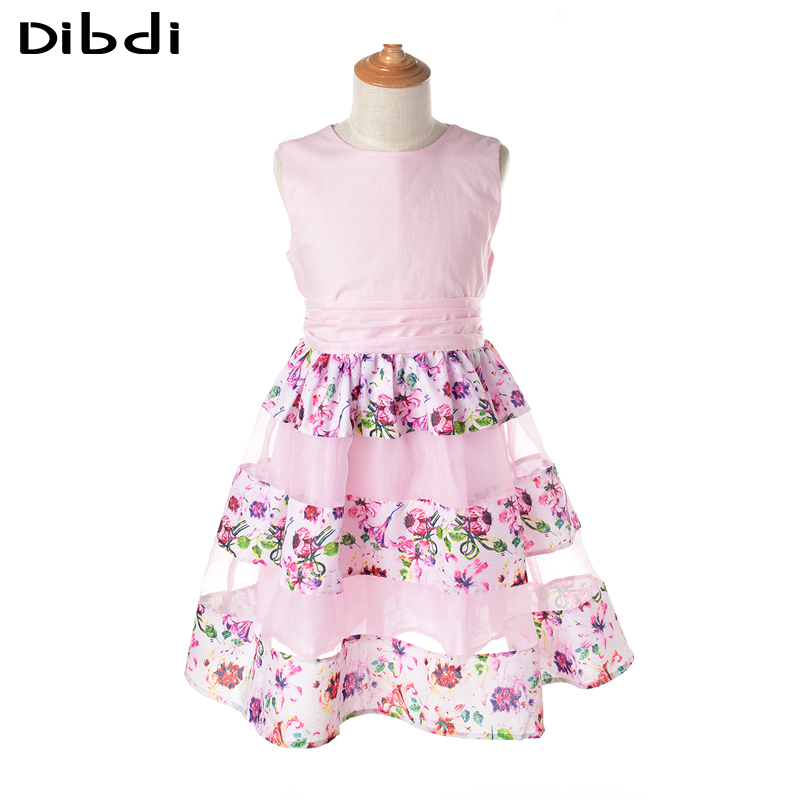 Girls Floral Print Dresses 2016 Summer Flower Girls Dresses for Party and Wedding Kids Clothes Girl Pink Princess Dress with Bow(China (Mainland))