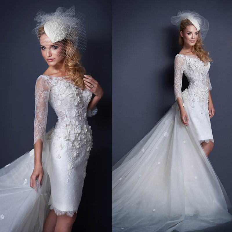 Long train short wedding dresses 2015 with sleeves for Short wedding dress with long train