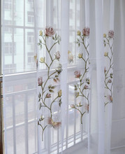 Butterfly embroidered kitchen curtain finished products shalian curtain balcony the finished curtain partition white bottom(China (Mainland))