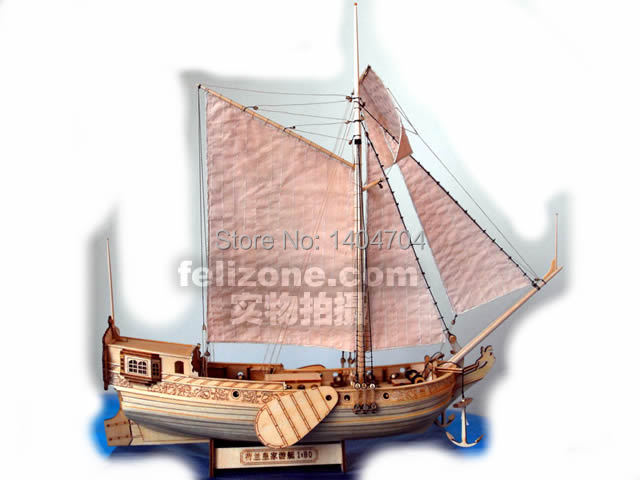 SC 1:80 Laser cut wooden sail ship model building accessories: Royal Holland yacht with accessories Free Brass cannon 1 pcs(China (Mainland))