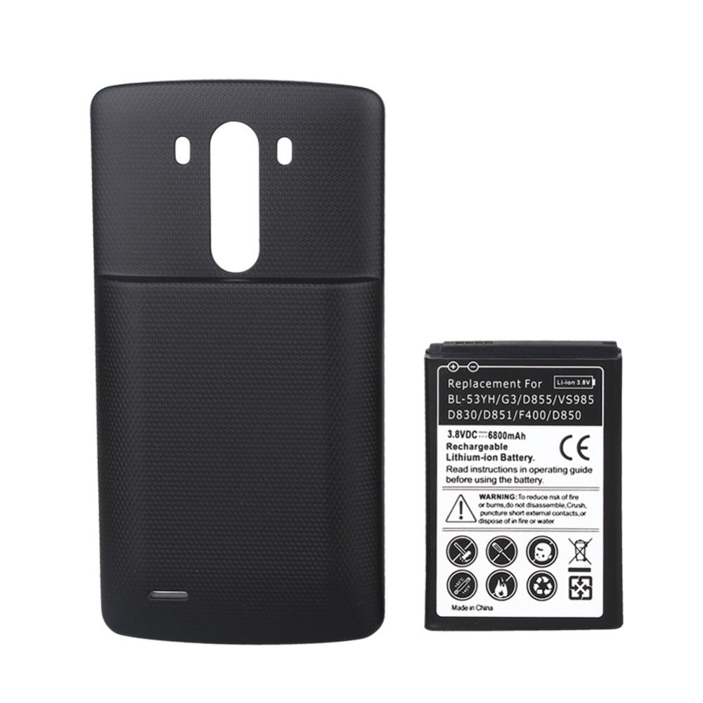 High Capacity 6800mAh Rechargeable Batteria Replacement With Black Cover Case For LG G3 Battery D855 VS985 D830 D851 F400 D850(China (Mainland))