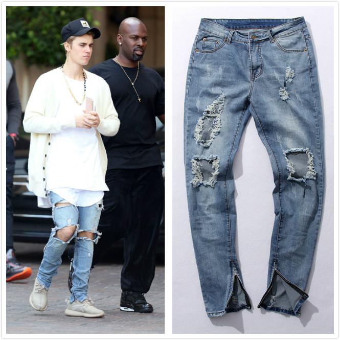 Fear of god broken hole damaged Distressed ripped lt blue jeans leg zipper Kanye west men denim pants 2 colors(China (Mainland))