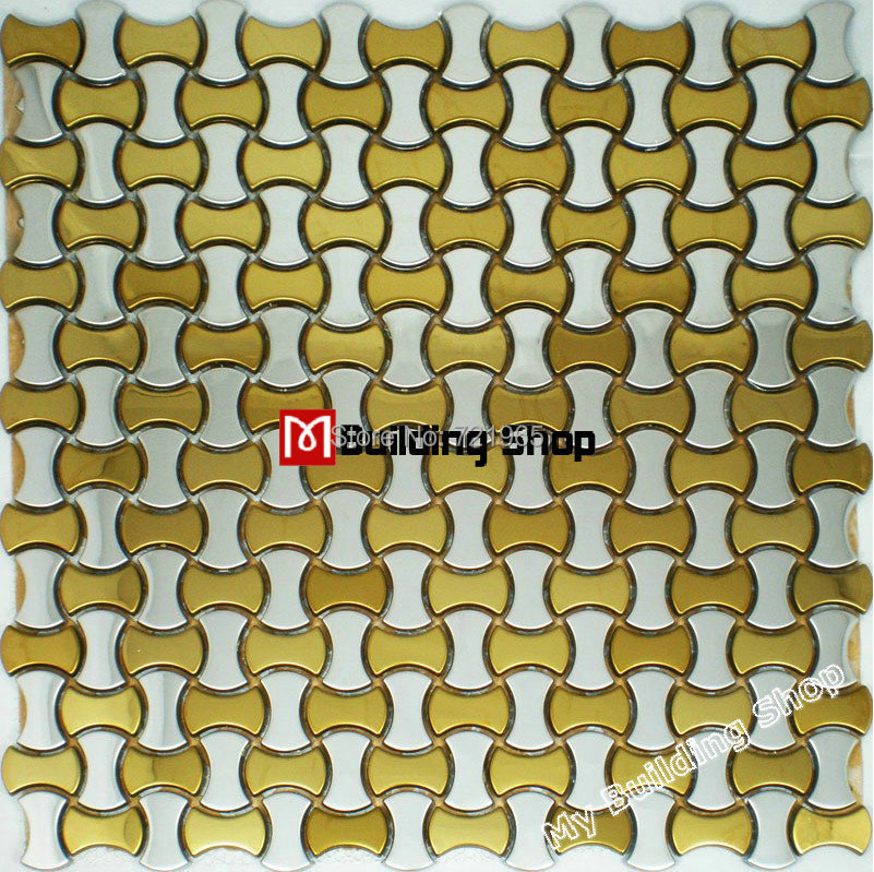 Gold mix silver metal mosaic kitchen wall tile panel SMMT008 brushed stainless steel wall tiles 3D mosaic tiles backsplash<br><br>Aliexpress