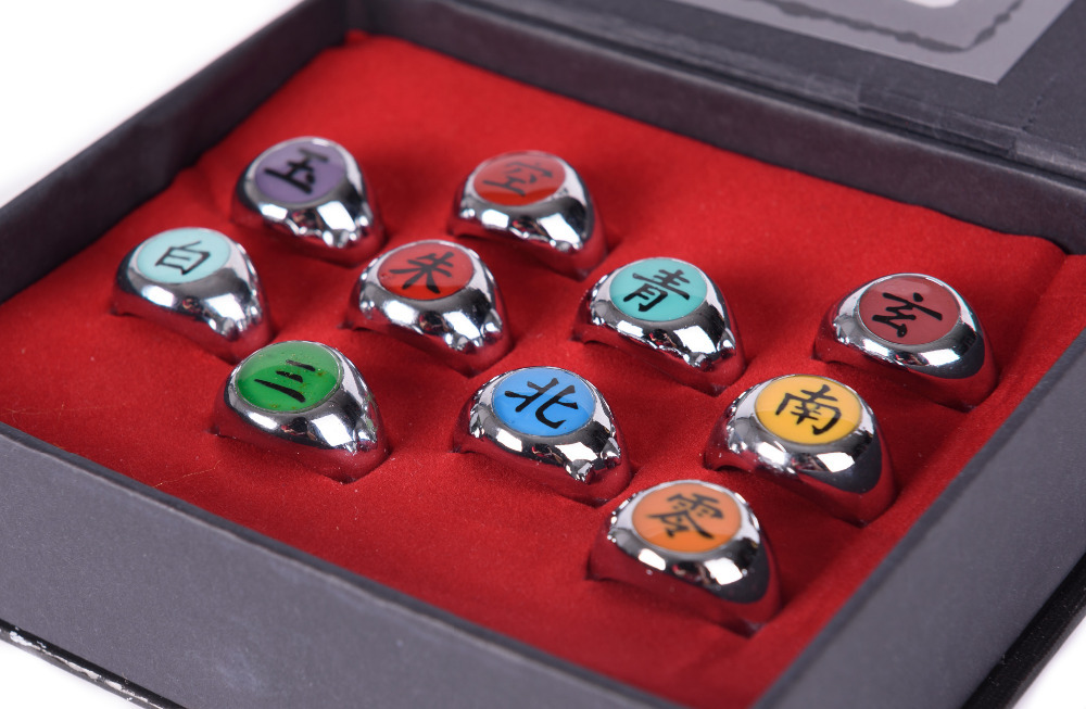 NEW ANIME COSPLAY 10 PCS NARUTO AKATSUKI MEMBERS RING SET WITH BOX-36111<br><br>Aliexpress