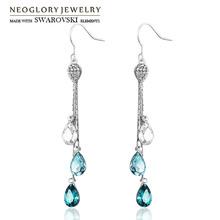 Neoglory Austria Rhinestone & Crystal Drop Earrings Water Drop Style Alloy Platinum Plated Elegant New Blue Trendy Women Gift(China (Mainland))