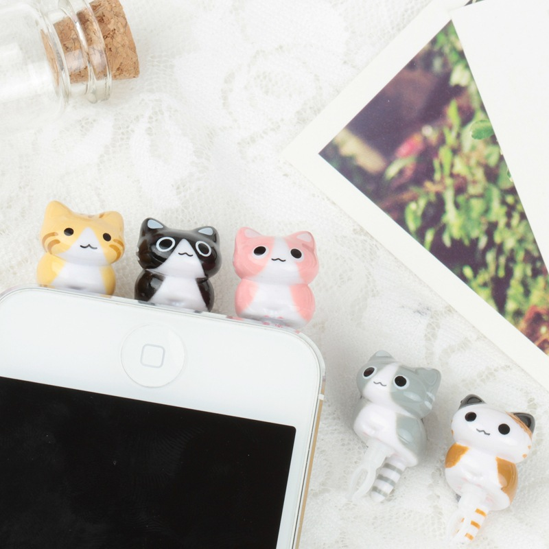 new cute cat animal Earphone Headphone Anti Dust Plug Dust Cap For iPhone 4 4s 5 Anycall For 3.5mm Plug Mobile Phone(China (Mainland))
