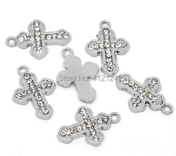 10Pcs Silver Tone Clear Rhinestone Religion Cross Pendants Diy Jewelry Charms Component 23x16mm(China (Mainland))