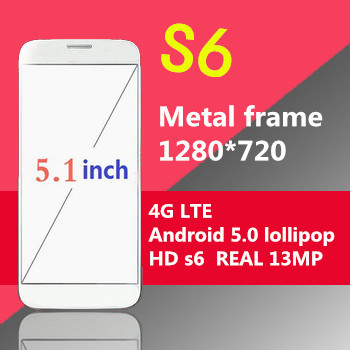 New Arrived S6 phone prefect 1:1 MTK6582 Quad Core 1280X720 Android 5.0 OS HDC S6 phone 5.1 inch MTK6592 octa core original logo(China (Mainland))