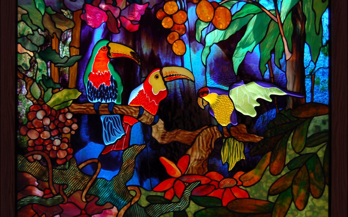 Stained glass art window tropical parrot color jungle forest 4 Sizes Silk Fabric Canvas Poster Print(China (Mainland))