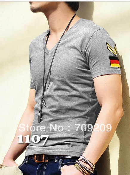Grey Tight Men Summer T Shirts Man T Shirts V Neck T