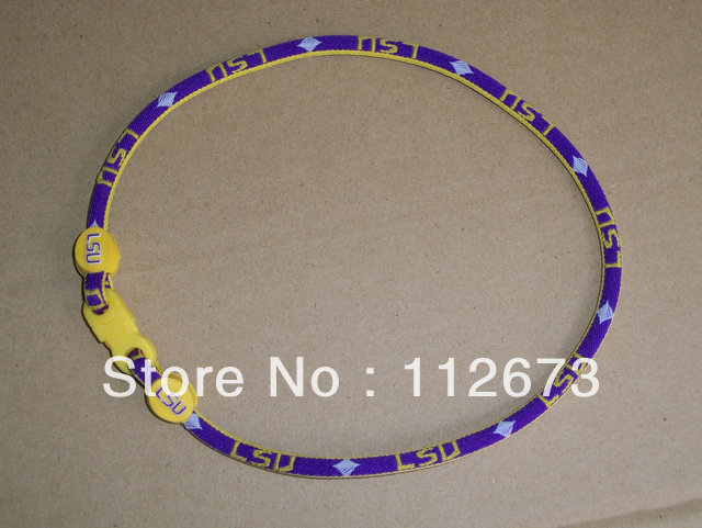 by DHL us college ncaa football single ropes LSU, titanium sport necklace , Each team 100pcs(China (Mainland))