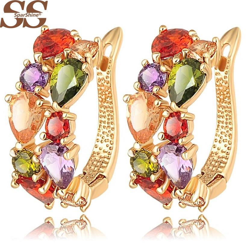 SparShine Top Sale New Flower Earrings 18K Rose Gold Plate Multicolor Cubic Zircon Stud Earrings for Women Bijoux Brinco Earing(China (Mainland))