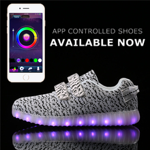 App Control Yeezy LED Shoes Kid Light Up Flashing Luminous Unisex Shoes Superstar Kids Nmd Tenis Neon Sneakers Boots Hot Fashion(China (Mainland))