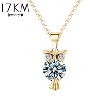 Buy 17KM Hot Sale Cute Gold Color Chain Necklace Crystal Zircon Lovely Owl Pendants Necklace Fashion Jewelry Women joyas CS13 for $1.24 in AliExpress store
