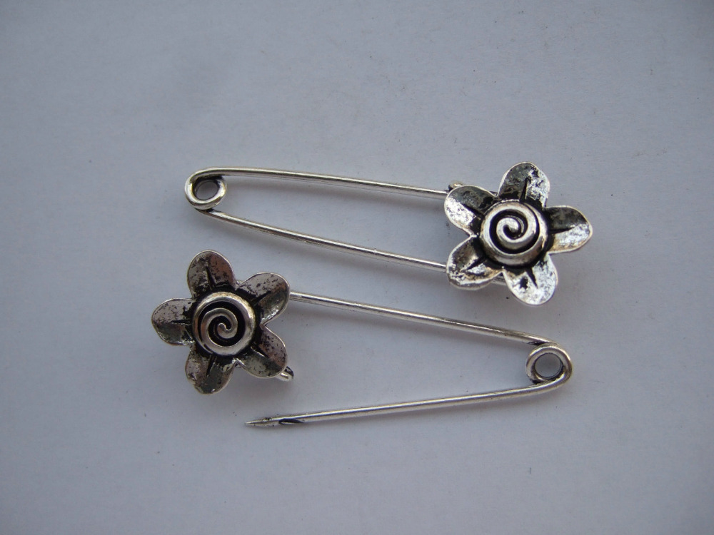 20 x antique Silver Large Metal font b Kilt b font Safety Swirl Flower Pin Brooch