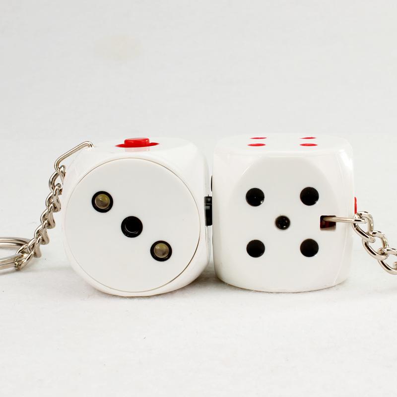 Keychain dice key chain sound light LED flashlight car key ring holder bag pendant toys kawaii chaveiro llavero porte clef BS156(China (Mainland))