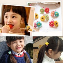 Chinasource Currently! Elastic Fashion Women Child Hair Rope Hair Band Flower for Ponytail Holder Gift X-mas Promotion sale(China (Mainland))