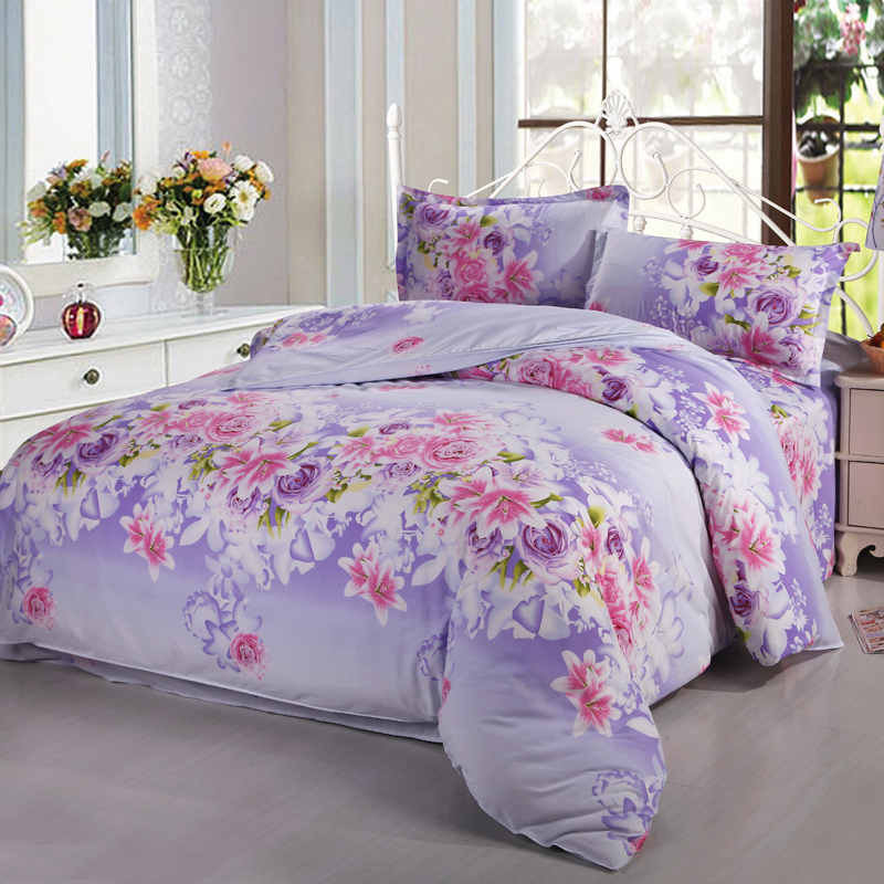 Twin Full Queen Cheap Lavender Pink White Flowers Floral