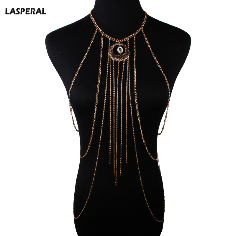 LASPERAL Women Summer Bikini Alloy Body Chain Necklace Multilayer Tassel Body Chain Fashion Sexy Jewelry Gold Plated 46.5cm,1PC(China (Mainland))