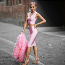 2017 New Winter Women Bandage Dresses V-Neck 2 Piece Set Khaki Pink Sleeveless Celebrity Party Sexy Bodycon Dress wholesale(China (Mainland))