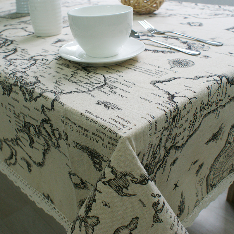 Europe Earth Map Printed Vintage Table Cloth Cotton Linen Tablecloth Lace Flower Hemming(China (Mainland))