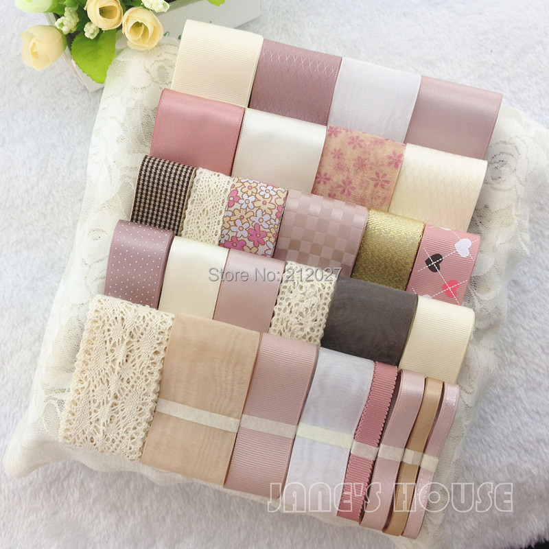 Free shipping High quality 32 YDS Mixed 30 style satin / grosgrain/cotton lace ribbon cartoon ribbons set Printed tape(China (Mainland))