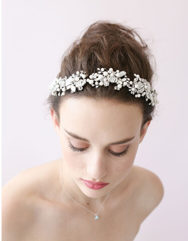 2015 fashion sweet lovely tiara wedding hair jewelry accessories pearl crystal head decoration bridal hairband headdress