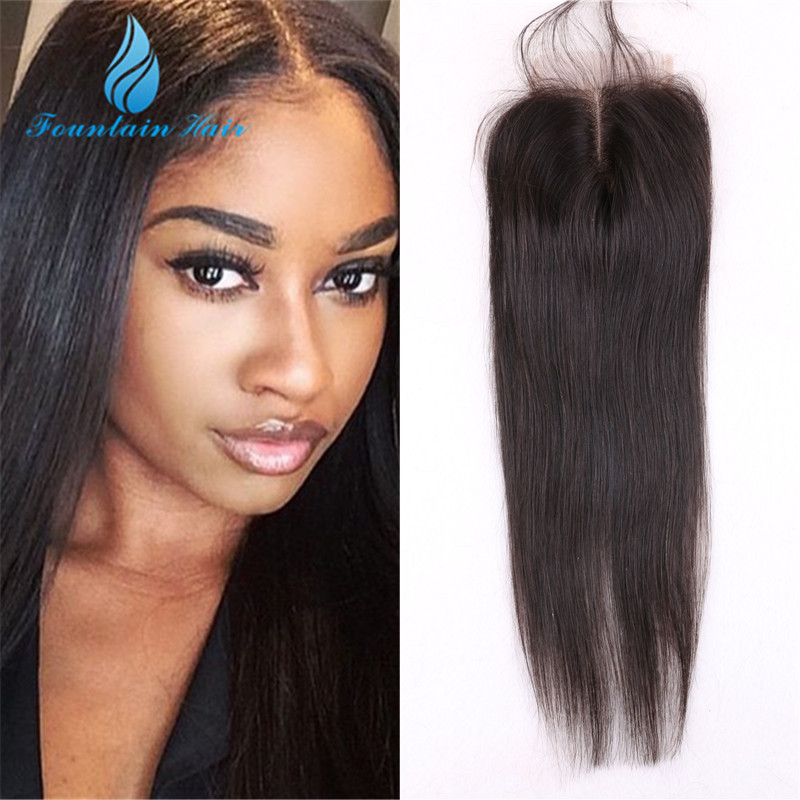 7A 4*4 Unprocessed Virgin Peruvian Straight Lace Closure Bleached Knots Cheap Free/iddle/3 Part Swiss Lace Human Hair Closures(China (Mainland))