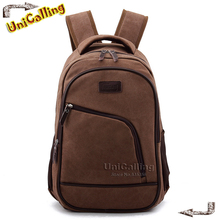 UniCalling Brand Men Canvas Backpack casual vintage fashion backpack man outdoors travel backpack retro laptop school bag