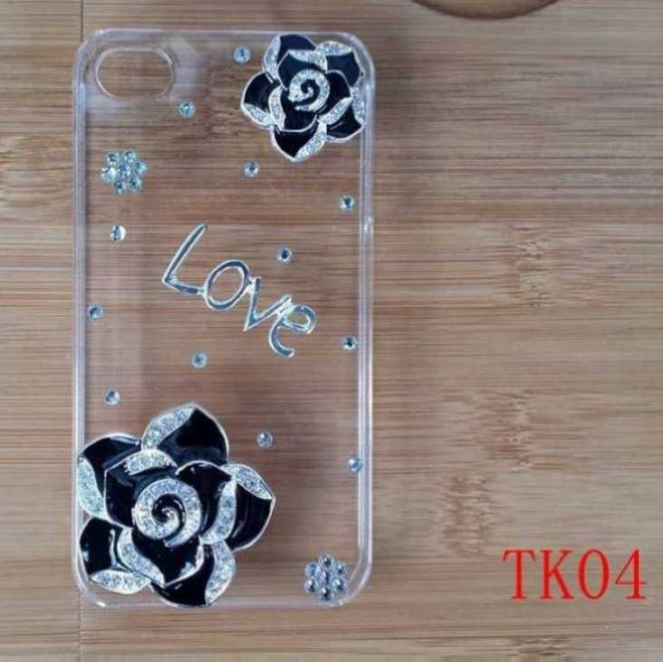 hot sell cool black rose diamond love fashion transparent hard plastic case cover for iPhone 3G 3GS(China (Mainland))