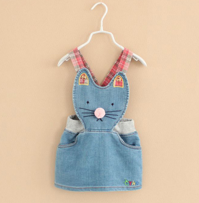 2015 new fashion spring autumn girl denim overalls cute kitty cat jeans skirt cartoon kids overalls blue size 3-8<br><br>Aliexpress