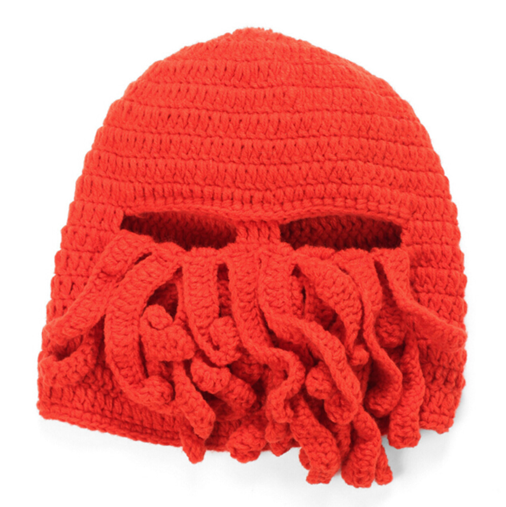 Knitting Pattern Octopus Hat : Octopus Hat Mask Squid Cap Beani Wool Ski Knitted Beanie Cthulhu Tentacles Be...