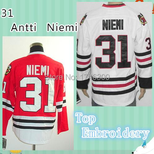 31 Antti Niemi Jersey Cheap Authentic NHL Chicago Hockey Jerseys Stitched Logos Classic Sport Shirt Size M-XXL(China (Mainland))