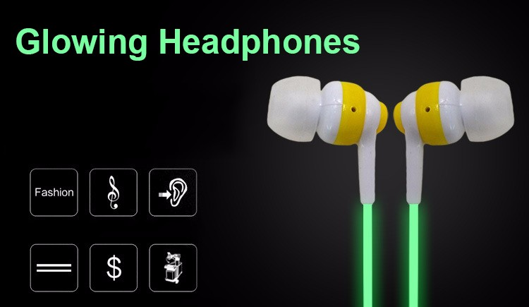Hot Glow In The Dark In-Ear Earphones Cool Luminous Neon Ear Earphone With Microphone Night Lighting For iPhone Samsung Xiaomi
