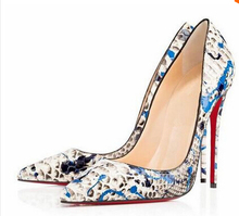 women colorful printing pumps snakeskin heels  high heels drop shipping(China (Mainland))
