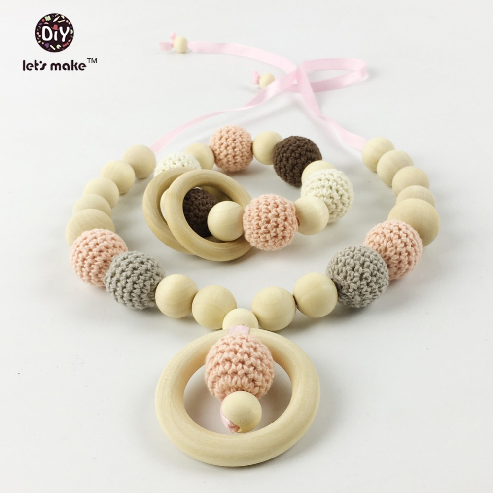 baby teething wooden necklaces choker set Nursing Necklace with pendant, Teething Necklace,Wooden Breastfeeding jewelry Eko(China (Mainland))