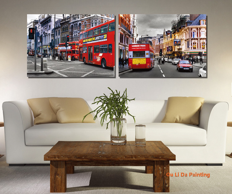 free shipping 2 Piece / set europen street red bus landscape canvas prints oil painting printed on canvas art decoration picture(China (Mainland))