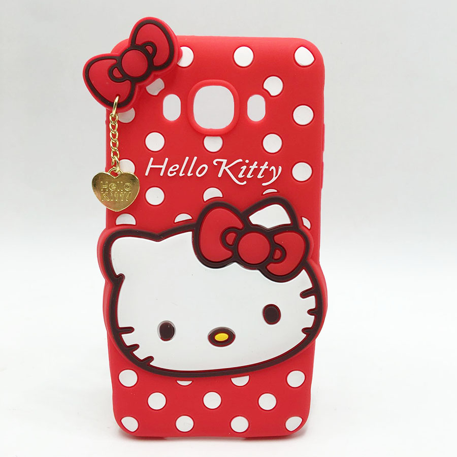 Cute 3D Hello Kitty Soft Silicone Cell Phone Back Cover For Samsung Galaxy A3 A5 A7 J1 J5 J7 2016 Core2 Core 2 G355H Rubber Case(China (Mainland))